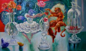 """Beauty and Beast , Celebrate Strawberries and Chambord""   oil on canvas 36"" x 60"""